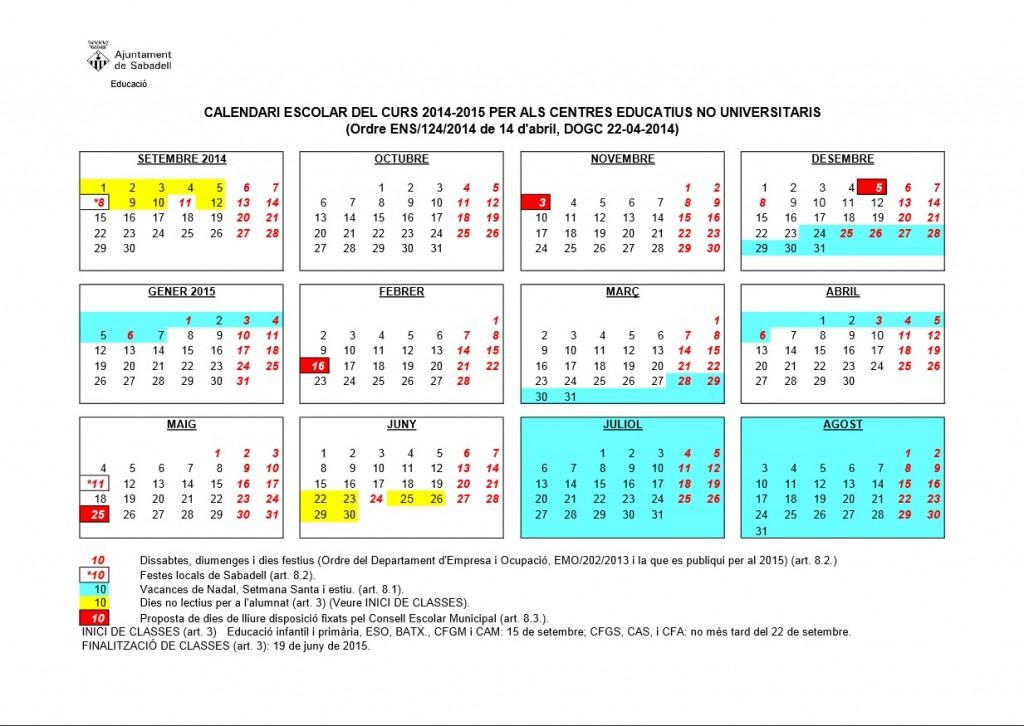 Calendari pel curs 2014 - 2015